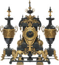 Clocks & Mechanical:Clocks, A Three-Piece French Partial Gilt Bronze Clock Garniture, circa 1867. Marks to clockworks: G S, MEDAILLE D'OR, 1867. 29 ... (Total: 3 Items)