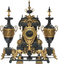 A Three-Piece French Partial Gilt Bronze Clock Garniture, circa 1867 Marks to clockworks: G S, MEDAILLE D'OR, 1