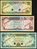 Afghanistan Afghanistan Bank 10; 20; 50 Afghanis ND (1979) / SH1358 Pick 55s; 56s; 57s Specimens Choice Crisp Uncirculat...
