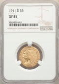 1911-D $5 XF45 NGC. NGC Census: (78/1399). PCGS Population: (106/705). CDN: $1,050 Whsle. Bid for NGC/PCGS XF45. Mintage...