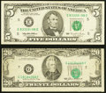 """Error Notes:Miscellaneous Errors, Lightly Printed Digit """"4"""" in the Serials Fr. 1985-E $5 1995 Federal Reserve Note. Fine-VF;. Overprint Printed a Little Low... (Total: 2 notes)"""
