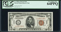 Small Size:World War II Emergency Notes, Fr. 2301 $5 1934 Hawaii Mule Federal Reserve Note. PCGS Very Choice New 64PPQ.. ...