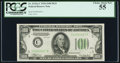 Fr. 2152-C $100 1934 Dark Green Seal Federal Reserve Note. PCGS Choice About New 55