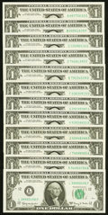 Small Size:Federal Reserve Notes, Regular Block Set Fr. 1901-A-L $1 1963A Federal Reserve Notes. . ... (Total: 12 notes)