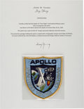 "Explorers:Space Exploration, Apollo 10 Flown Embroidered Mission Insignia ""Post-Flight"" Crew Patch Directly from the John W. Young Collection, with Letter ..."