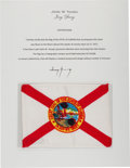 Explorers:Space Exploration, Apollo 16 Flown Florida Flag Directly from the John W. Young Collection, with Letter of Certification. ...
