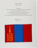 Explorers:Space Exploration, Gemini 10 Flown Flag of Mongolia Directly from the John W. Young Collection, with Letter of Certification. ...