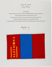 Gemini 10 Flown Flag of Mongolia Directly from the John W. Young Collection, with Letter of Certification