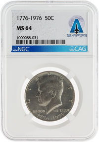 Coins: 1776-1976 50¢ MS64 NGC Kennedy Half Dollar Directly From The Armstrong Family Collection™, CAG Certified...