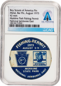 Boy Scouts: 1973 National Jamboree-East Moraine Park Fishing Permit Directly From The Armstrong Family Collection™