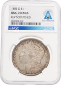 Explorers:Space Exploration, Coins: 1885-O $1 UNC DETAILS REV SCRATCHED NGC Morgan Dollar Directly From The Armstrong Family Collection™, CAG Certified. ...