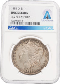 Coins: 1885-O $1 UNC DETAILS REV SCRATCHED NGC Morgan Dollar Directly From The Armstrong Family Collection™, CAG Certifi...