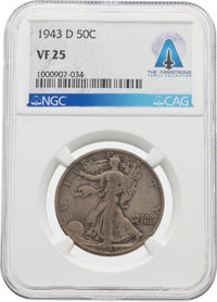 Coins: 1943-D 50¢ VF25 NGC Walking Liberty Half Dollar Directly From The Armstrong Family Collection™, CAG Certifie...