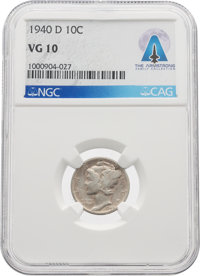 COINS: 1940-D 10¢ VG10 NGC Mercury Dime Directly From The Armstrong Family Collection™, CAG Certified