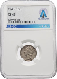 Coins: 1943 10¢ XF45 NGC Mercury Dime Directly From The Armstrong Family Collection™, CAG Certified