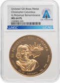 Explorers:Space Exploration, Medals: Christopher Columbus In Perpetual Remembrance MS64 PL NGC Gilt-Brass Medal, Directly From The Armstrong Family Collect...