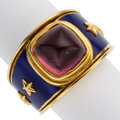 Estate Jewelry:Rings, Pink Tourmaline, Enamel, Gold Ring, Mavito. ...