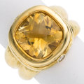 Estate Jewelry:Rings, Citrine, Diamond, Gold Ring, SeidenGang. ...