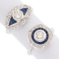 Estate Jewelry:Rings, Diamond, Sapphire, White Gold Rings . ... (Total: 2 Items)