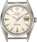 Timepieces:Wristwatch, Rolex, Oyster Perpetual Date, Stainless Steel, Ref. 1500, circa 1960. ...