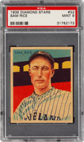 Baseball Cards:Singles (1930-1939), 1934-36 Diamond Stars Sam Rice (1935) #32 PSA Mint 9 - Pop Two, None Higher. ...