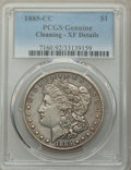 Morgan Dollars, 1885-CC $1 Morgan Dollar -- Cleaned -- PCGS Genuine. XF Details. NGC Census: (12/10890). PCGS Population: (20/22655). CDN:...
