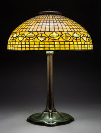 Tiffany Studios Leaded Glass and Bronze Lemon LeafTable Lamp, circa 1910 Marks to shade: TIFFANY STUDIOS, NEW... (Total:...