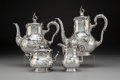 Silver Holloware, Continental, A Bruckmann & Söhne Silver Tea and Coffee Service Retailed by L. Posen Witwe, Heilbronn, Germany, early 20th century. Mark t... (Total: 4 Items)