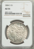 Morgan Dollars: , 1884-S $1 AU55 NGC. NGC Census: (1982/2288). PCGS Population: (2286/1705). CDN: $385 Whsle. Bid for problem-free NGC/PCGS A...