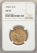 1908-S $10 AU53 NGC. NGC Census: (117/547). PCGS Population: (71/532). CDN: $1,174.97.Whsle. Bid for NGC/PCGS AU53. Mint...