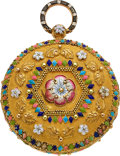 Timepieces:Pocket (pre 1900) , Bautte & Moynier, Geneve, Gold & High Relief Enameled Verge, circa 1830. ...