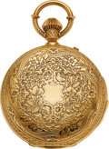 Timepieces:Pocket (pre 1900) , Swiss, Highly Ornate Heavy 18k Gold Minute Repeater, Circa 1895. ...