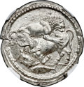 Ancients: MACEDON. Acanthus. Ca. 470-430 BC. AR tetradrachm (29mm, 17.36 gm, 5h). NGC MS 5/5 - 2/5, test cut