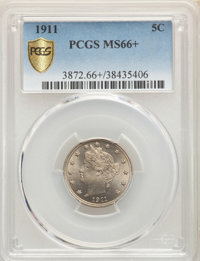 1911 5C MS66+ PCGS. PCGS Population: (60/7 and 5/0+). NGC Census: (24/0 and 0/0+). MS66. Mintage 39,559,372