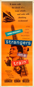 """Movie Posters:Hitchcock, Strangers on a Train (Warner Bros., 1951). Rolled, Fine/Very Fine. Insert (14"""" X 36"""").. ..."""