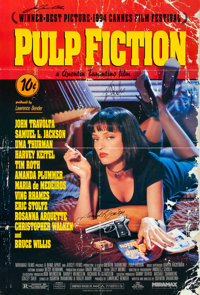 """Pulp Fiction (Miramax, 1994). Folded, Very Fine. Autographed One Sheet (27"""" X 40"""") SS"""