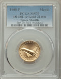 1988-P MEDAL Gold Space Shuttle, Young Astronauts MS70 PCGS. PCGS Population: (1). NGC Census: (0)