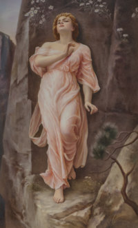 A KPM Porcelain Plaque in Carved Giltwood Frame, Berlin, late 19th-early 20th century Marks: (scepter), KPM, SD