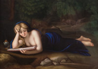 A German Painted Porcelain Plaque Depicting Mary Magdalene after Correggio, late 19th century 11-1/2 x 9 inches (2
