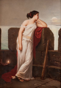 A KPM Painted Porcelain Plaque Depicting a Classical Maiden Standing at a Parapet, Late 19th century 9-1/4 x 6-1/2