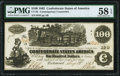 Confederate Notes, CT-39/290 $100 1862 Contemporary Counterfeit. PMG Choice About Uncirculated 58 EPQ.. ...