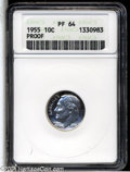 "Proof Roosevelt Dimes: , 1955 10C PR 64 ANACS. The current Coin Dealer Newsletter(Greysheet) wholesale ""bid"" price is $9.00...."