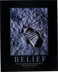 """Armstrong Family Personal: Moon Boot Print """"Belief"""" Poster With Wernher Von Braun Quote Directly From The Arms..."""