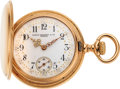Timepieces:Pocket (post 1900), Patek Philippe, Lady's Gold Hunter Case, Fancy Dial, circa 1905. ...