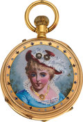 Timepieces:Pocket (pre 1900) , Swiss, Gold & Enamel Pendant Watch, circa 1890's. ...