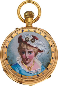 Swiss, Gold & Enamel Pendant Watch, circa 1890's