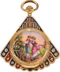Timepieces:Pocket (pre 1900) , Swiss, Enamel & Gold Fan Form Watch For The Chinese Market, Circa 1890's. ...