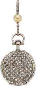 Timepieces:Pendant , Swiss, Platinum Pavé Diamond Pendant Watch, Circa 1905. ...