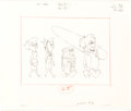 "Animation Art:Concept Art, The Flintstones ""Surfin' Fred"" Layout Drawings Original Art Group of 4 by Richard Bickenbach (Hanna-Barbera, 1965).... (Total: 4 Original Art)"