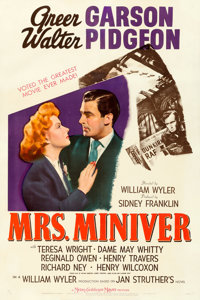 """Mrs. Miniver (MGM, 1942). Fine- on Linen. One Sheet (27"""" X 41"""") Style C"""